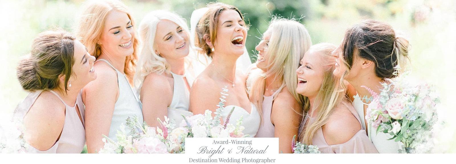 Bright and natural destination wedding photographer header - bridesmaids laughing